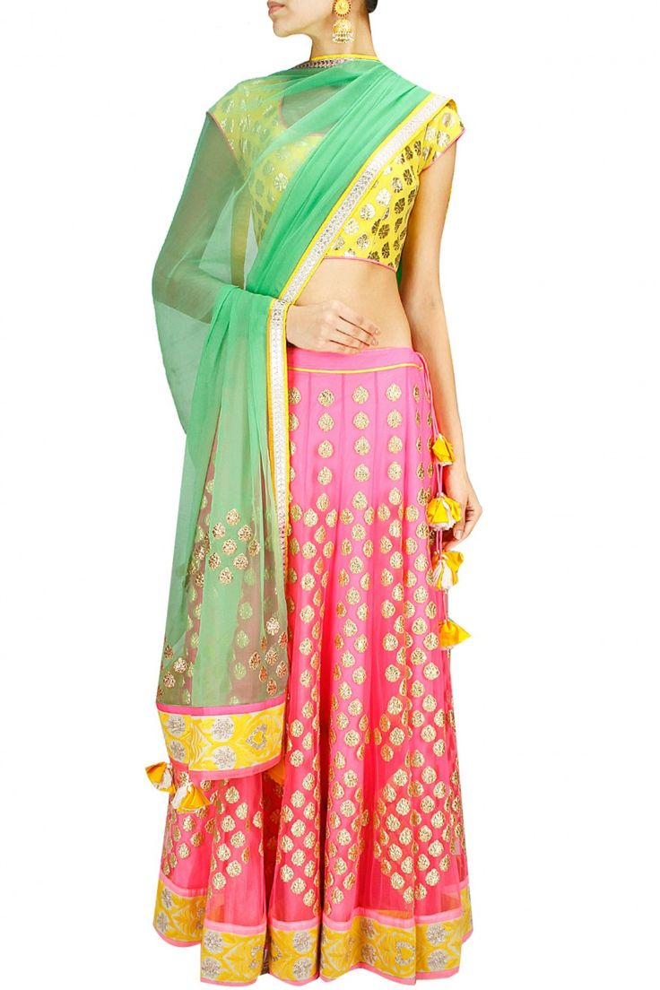Neon pink, yellow and mint green applique lehenga set available only at Pernia's Pop-Up Shop.