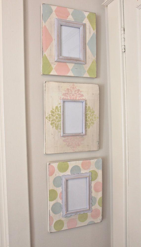Floral, Arlequín, cuadro pintado lunares angustiada mano de madera marco conjunto/agrupar para bebé vivero