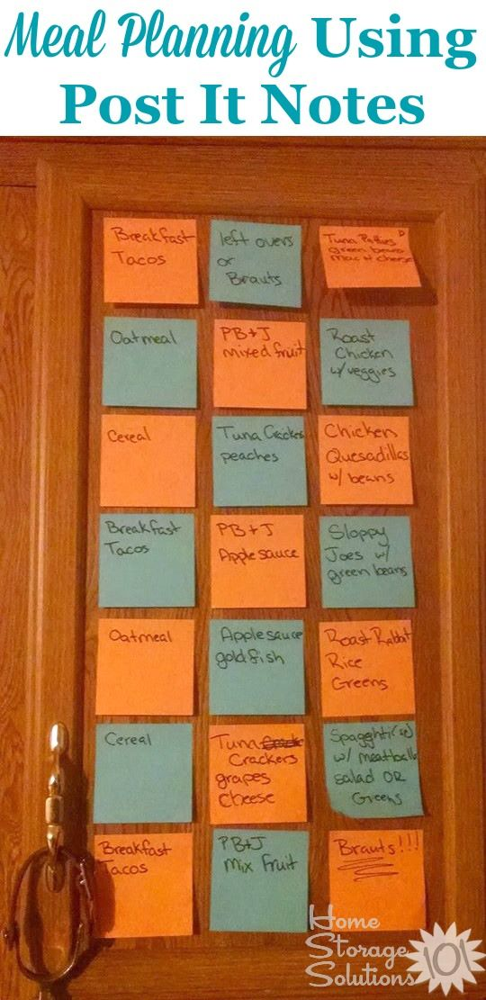 Use post it notes as a weekly meal planner in your kitchen on a cabinet door {featured on Home Storage Solutions 101}