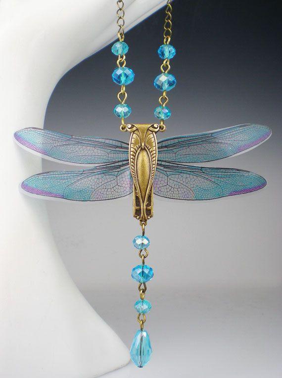 Dragonfly Necklace Aqua Art Nouveau Vintage by milminedesign