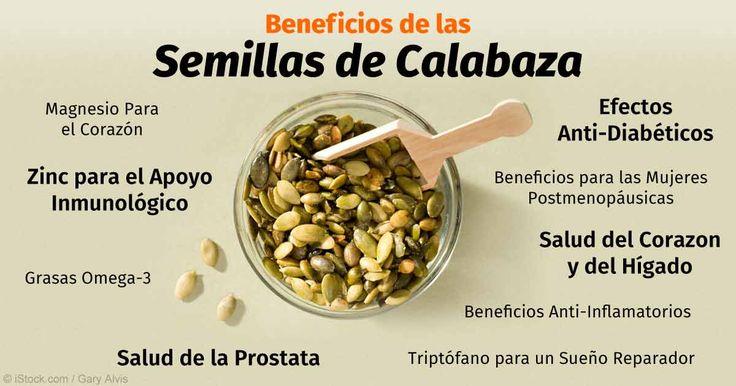 Las semillas de calabaza contienen una gran variedad de nutrientes, desde magnesio y manganeso hasta cobre, proteína y zinc. http://espanol.mercola.com/boletin-de-salud/beneficios-de-las-semillas-de-calabaza.aspx