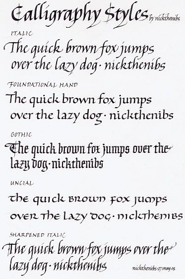 Calligraphy Styles - Nicholas Caulkin Should really get my pens and ...