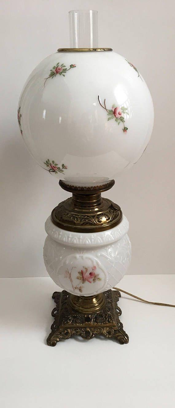 Antique Double Milk Glass Globe Victorian Parlor Table Lamp Etsy Glass Globe Lamp Antique Lamps