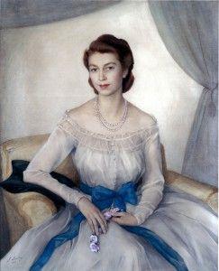 Принцесса Елизавета — сейчас королева Великобритании 1948 бум. акв. 133×112 Кларенс-хаус Лондон