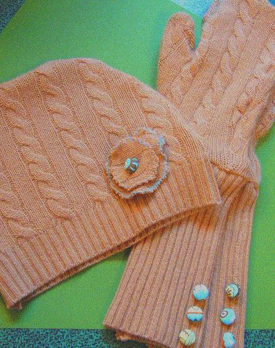 Make a hat and mittens out of an old sweater!