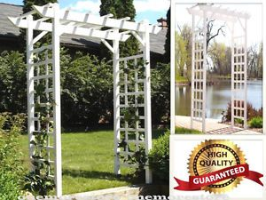 Gate Garden Pergola Arbor Trellis Vines PVC Vinyl Patio Backyard ...