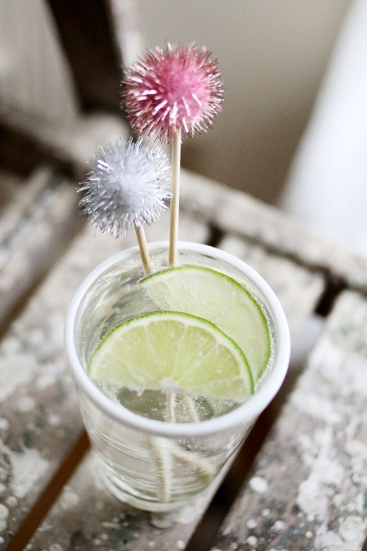 Lovely Set of 12 sparkly handmade pompom cocktail toppers- awesome for  bachelorette parties, bridal .
