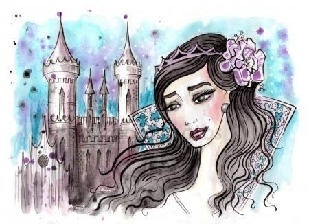Akwarela ilustracja urojonych księżniczki, ciemne włosy i jej zamku za — Obraz stockowy #127609482