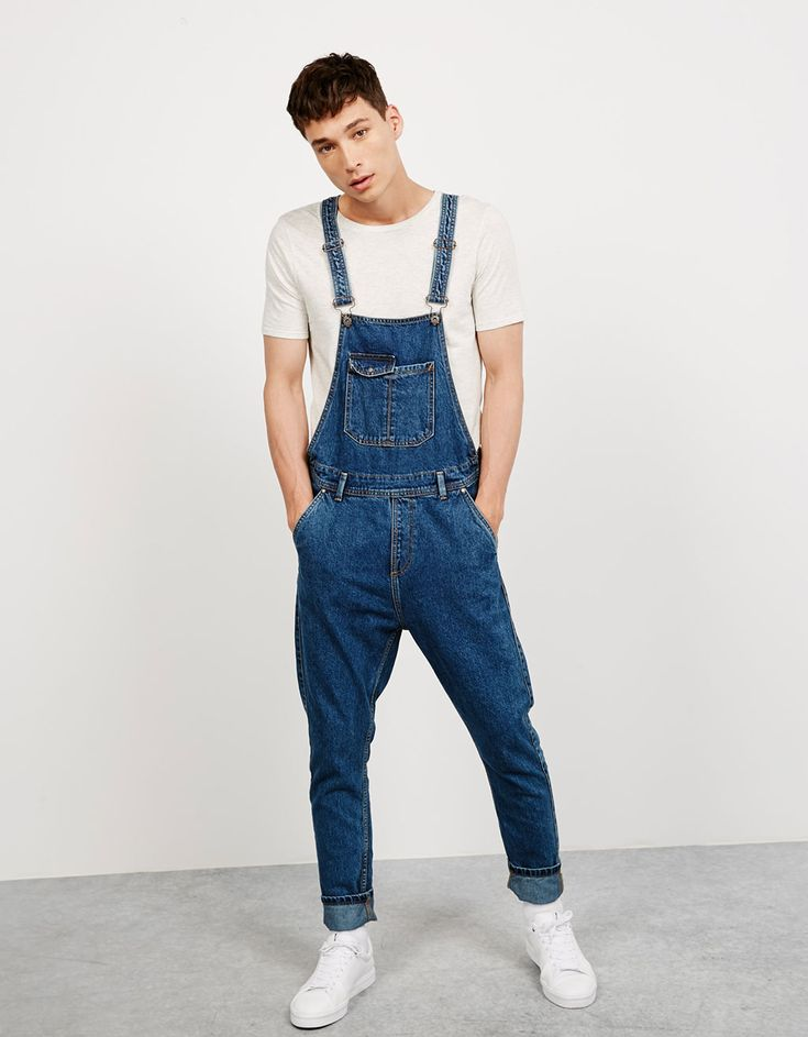 Bershka Belgium - Denim overgooier, washed 'Salt&Pepper'