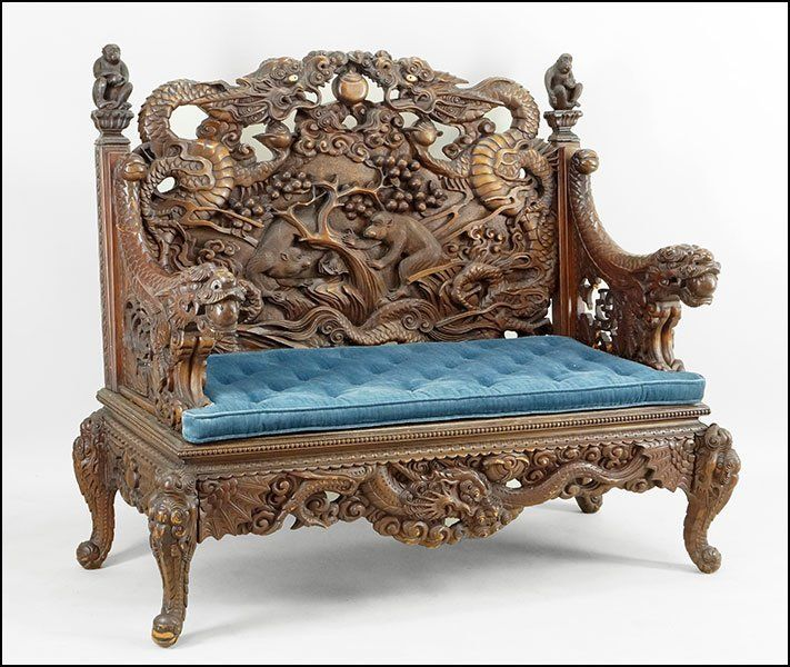Antique Couches Pinterest: A CHINESE CARVED HARDWOOD SETTEE. : Lot 149-1026