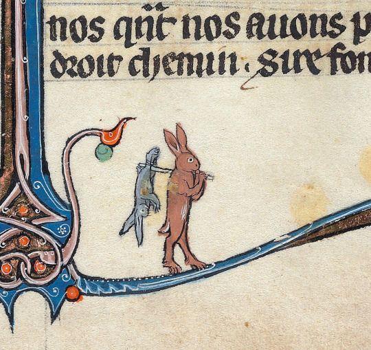 cannibal rabbit  Le livre de Lancelot du Lac & other Arthurian Romances, Northern France ca. 1275-1300  Beinecke Rare Book & Manuscript Library, MS 229, fol. 287r