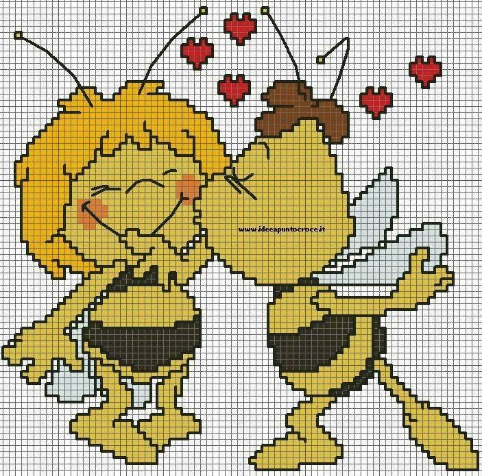 BEE LOVE (no color chart available, just use photo/pattern chart as your stitch/color guide... or choose your own colors)