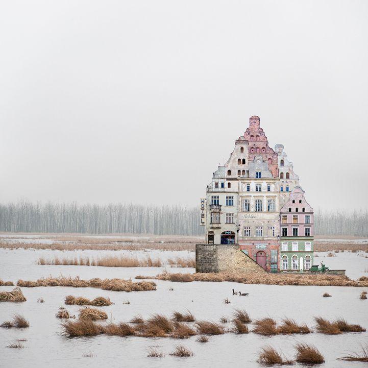 Using scissors and glue, artist Matthias Jung creates surreal constructions that occupy vast, desolate landscapes.