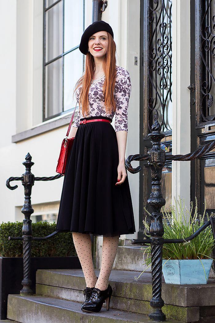Outfit | Floral Print Top - Mix or Ditch Challenge Outfit #3 - @hm skirt & belt, @verycherryshop polka dot tights - Retro Sonja | Vintage Fashion Blog - www.retrosonja.com