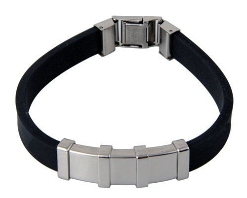 12MM Stainless Surgical Steel Rubber Band Bracelet 8 Inches Double Accent. $17.99. Prompt Shipping. 316L. Comes With Beautiful Jewelry Case