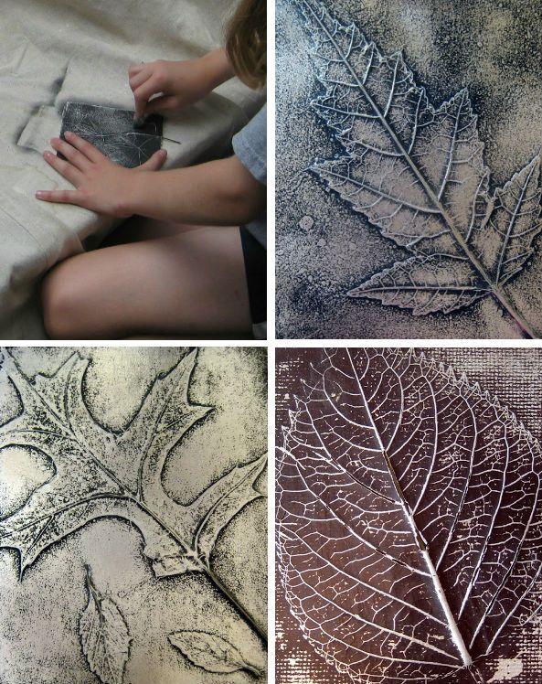 Leaf rubbings on foil, 3rd grade art project tutorial by Cassie Stephens. Matte board or cardboard backing, spray adhesive, leaves, foil, cheap spray paint, 0000 steel wool #DIY