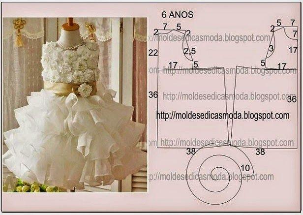 VESTIDO DE NIÑOS DE 6 AÑOS - 7 ~ Plantillas Fashion by Medida