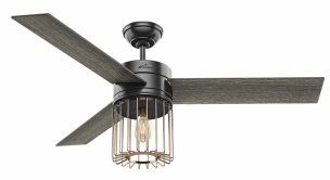 A fan as cool as its cooling with a caged Edison-style LED bulb and sleek design. $229; Hunter