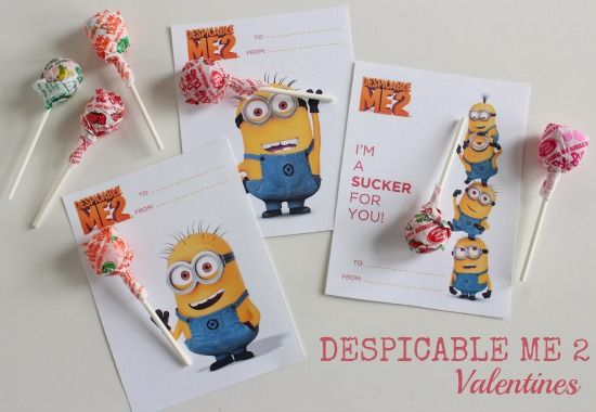 Despicable Me 2 Valentines Printables makeandtakes.com....free printable for your kids to give to classmates friends at class party. Super cute.