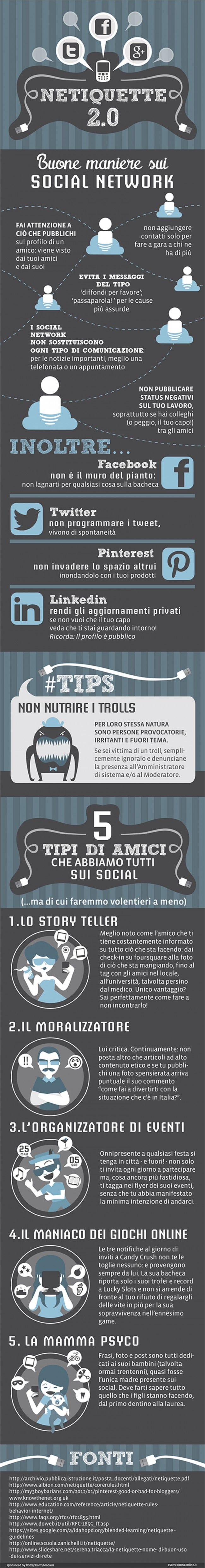 Netiquette 2.0: buone maniere sui social network - infographics designed for esseredonnaonline.it- illustrated by Alice Kle Borghi, kleland.com