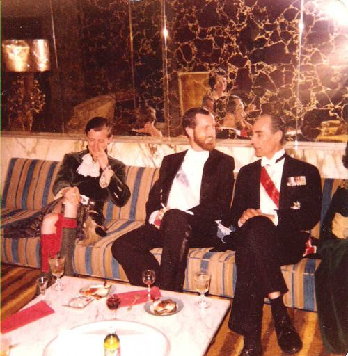 At the Fountainbleau Hotel in Miami. L-R, The Duke of Argyll, Roger Sherman, Prince Tomislav.  Prince Tomislav was the brother of King Peter II of Yugoslavia.