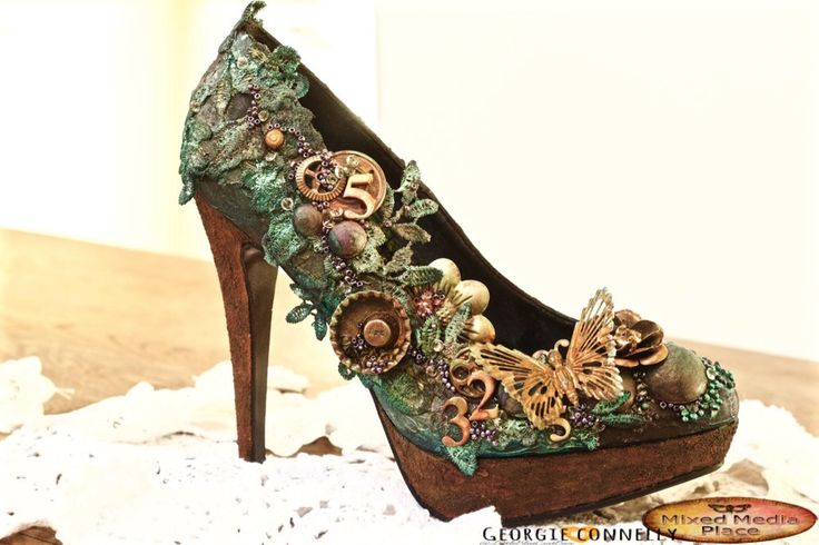 I love doing altered off the page projects and what could be more fabulous than a high heel number?!! I admit right now, these are not m...