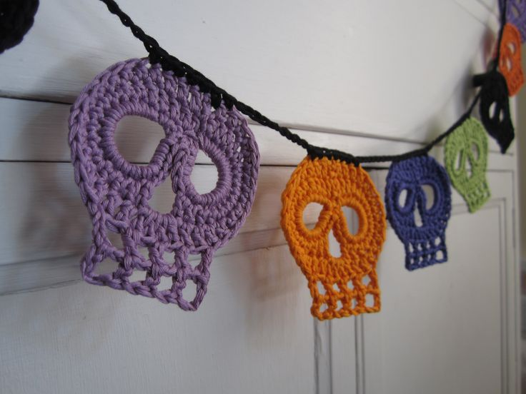 day of the dead crochet skull halloween bunting garland