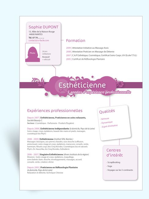 Mod le cv original estheticienne iii id cv - Telecharger open office gratuit en francais ...