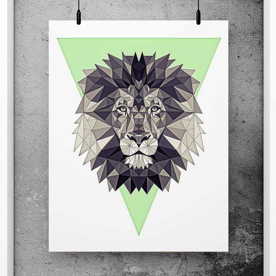 Leeuw Poster geometrische kunst groene muur decor door PFposters