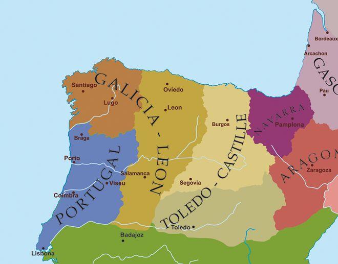 Carte politique du Nord-Ouest de la péninsule Ibérique à la fin du xiie siècle