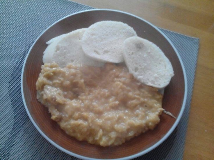 A sauerkraut stew ( Segedin goulash) with pork and dumpings