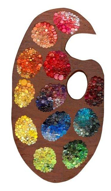 Artist's Pallete     wood & approx. 1,206 buttons