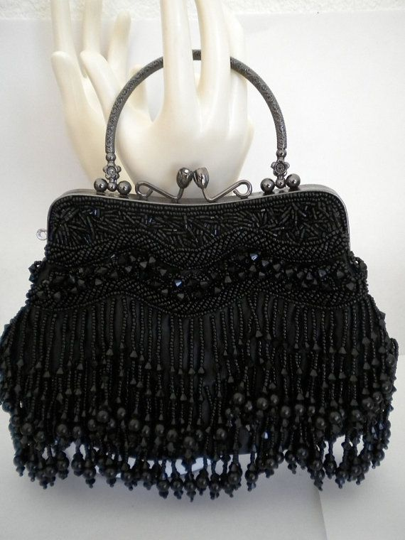 Art Nourveau Roaring 20's Style Black Beaded Gothic by ingridtiger, $60.00