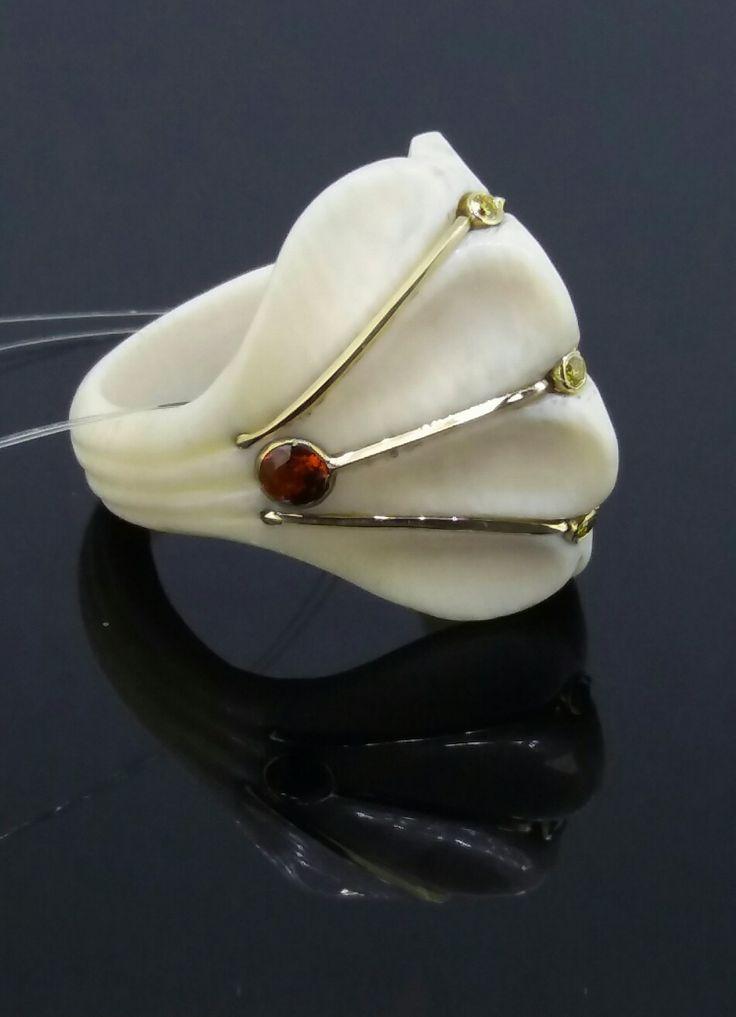 Кольцо, бивень мамонта, золото 585, спесартины, желтые бриллианты, ручная работа. #ring#mammoth tusk#gold# spessartines#yellow diamonds#handmade#