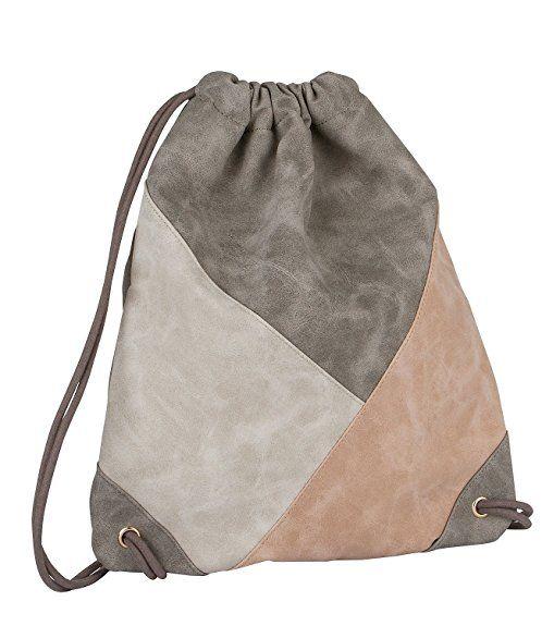 six trend damen rucksack turnbeutel aus kunstleder in grau beige und ros nude 463 776. Black Bedroom Furniture Sets. Home Design Ideas