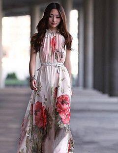 női állvány ujjatlan virágmintás maxi ruha övvel