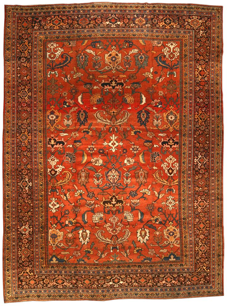 Antique Persian Rug Carpet With Floral Ornaments Interior