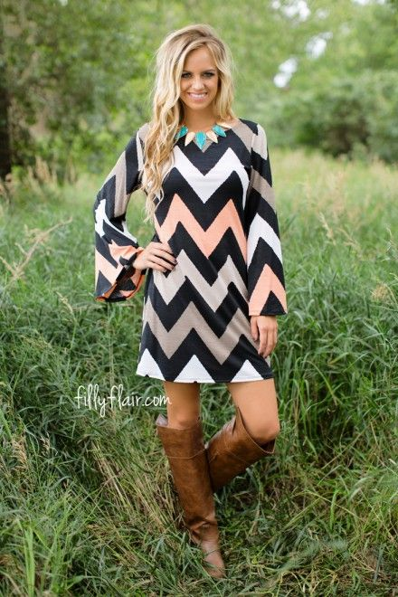This chevron dress is perfect for fall!