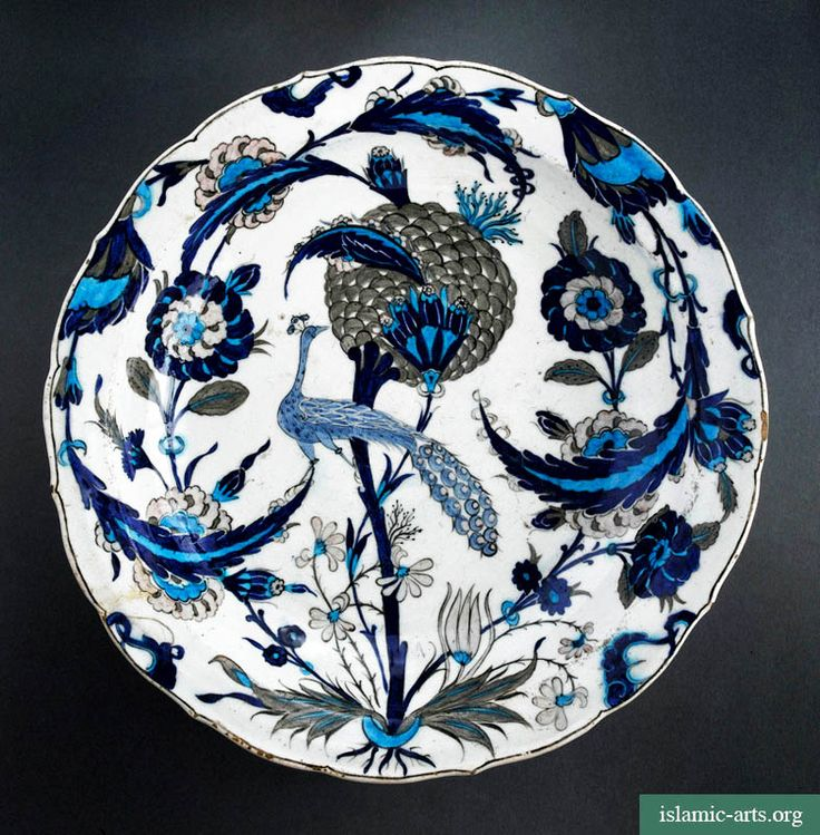 PEACOCK DISH,TURKEY, IZNIK, c. 1550. This Turkish dish is one of the finest examples of Iznik ceramics anywhere.