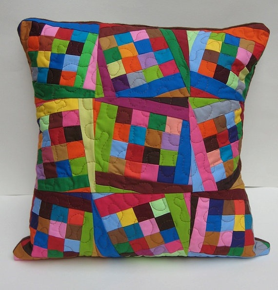 Tilting Squares Modern Patchwork Flannel Throw Pillow