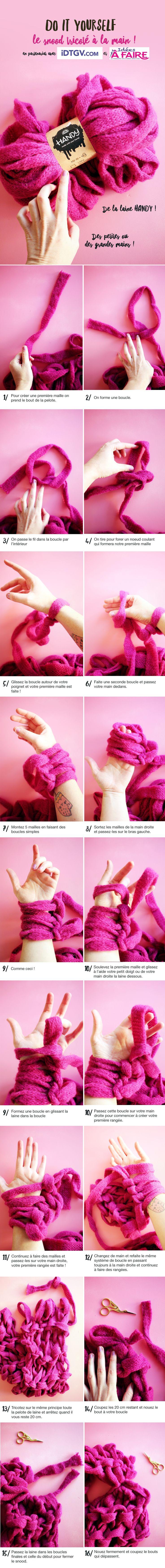 DIY snood avec les bras / yarn arm