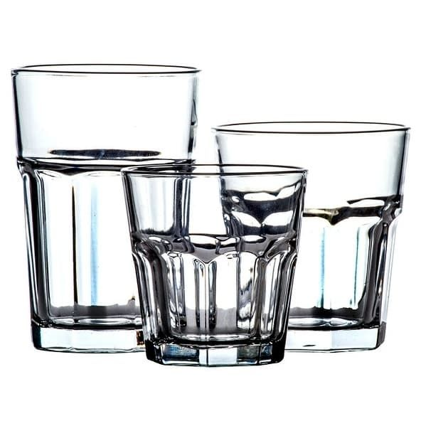 Imperial Home 18 Pc Classic Glassware Sets Multi Size Glass Cup Set Tumbler Glass, Clear