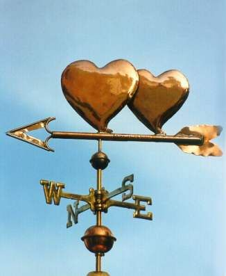 Double Heart Weather Vane by West Coast Weather Vanes.  This handcrafted heart weathervane can be custom made using a variety of metals and accent materials.