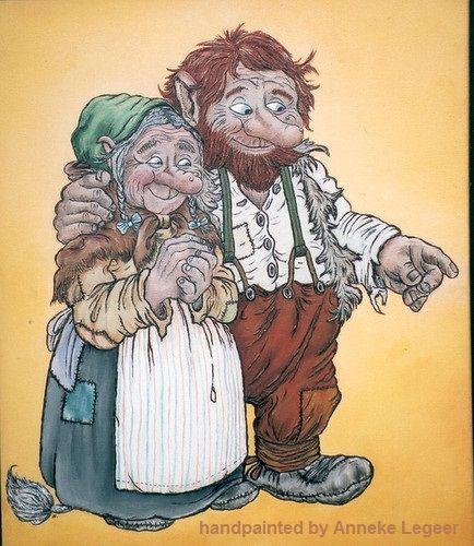 """""""Trollfar och trollmor"""", handpainted by Anneke Legeer, the Netherlands, naar voorbeeld van Rolf Lidberg, 2006."""