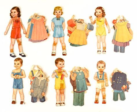 """Vintage Paper Doll Children """"Janey, Peggy, Pam, Jimmy, Tommy, and Ted"""", 47 pieces (c.1940s)"""