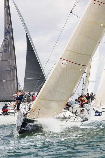 The Dehler 36SQ yacht 'Alaris' at the start of a Cowes Week 2014 race.