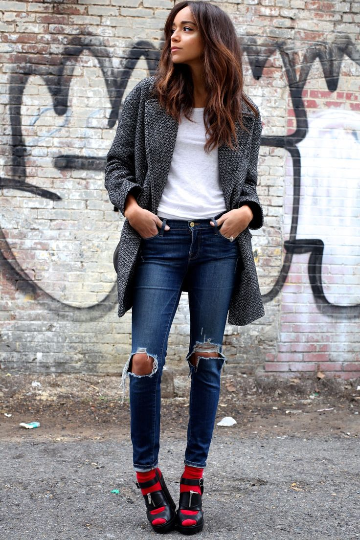 Black chunky heels with red socks + grey coat + ripped skinny jeans and white tee