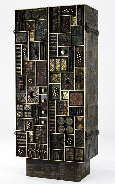 Paul Evans; Wood, Bronze and Gold Leaf Cabinet, 1972.