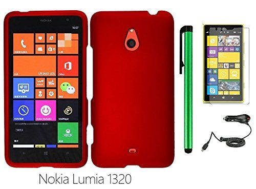 """Buy Nokia Lumia 1320 (6"""" Windows Phone 8 device; US Carrier : Cricket) Phone Case - Premium Pretty Design Protector Hard Snap-On Cover Case + Car Charger + Screen Protector Film + 1 of New Metal Stylus Touch Screen Pen (RED) NEW for 14.86 USD 