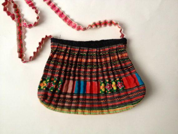Ethnic Tribal Bag Colourful Bag Fabric Bag Cross by Tukvintage
